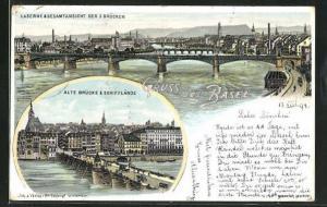 Lithographie Basel, Kasernen und Ansicht der 3 Brücken, alte Brücke und Schifflände