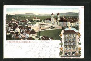 Lithographie Einsiedeln, Hotel Rot-Hut, Gesamtansicht