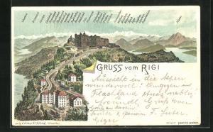 Lithographie Rigi-Kulm, Panoramablick auf Hotel und Alpen