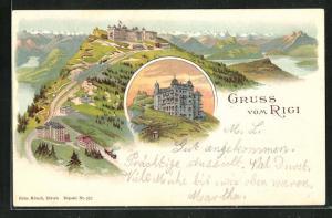 Lithographie Rigi-Kulm, Gesamtansicht mit Hotel und Alpenpanorama