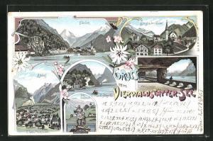 Lithographie Flüelen, Axenstrasse, Tell-Denkmal, Tellskapelle, Altdorf