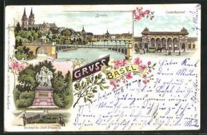 Lithographie Basel, Centralbahnhof, Denkmal der Stadt Strassburg, Ortsansicht mit Brücke
