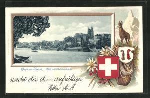AK Basel, Pfalz mit Wettsteinbrücke im Passepartout-Rahmen, Wappen