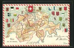 Präge-AK Schweiz, Landkarte, verschiedene Kantonswappen