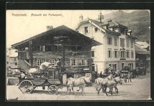AK Andermatt, Ankunft der Furkapost in der Ortschaft