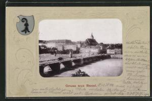 AK Basel, Ortsansicht mit Brücke und Häusern