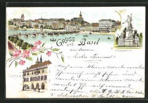 Lithographie Basel, Gesamtansicht, Rathaus, St. Jakobsdenkmal