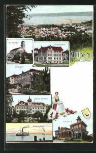 AK Heiden, Hotel Krone, Freihof, Kurhalle