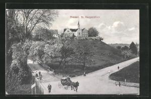 AK Basel, Spaziergänger im Park von St. Margarethen