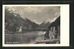 AK Erstfeld, Blick über den See zur Kapelle