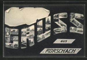 AK Rorschach, Grusskarte mit Ansicht der Stadt