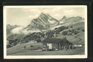 AK Braunwald, Gasthaus-Pension Rulschen mit Ortstock und hoher Turm