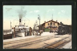 AK Rorschach, Hafen mit Dampfer