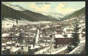 AK Davos-Platz, Ortsansicht aus der Vogelschau