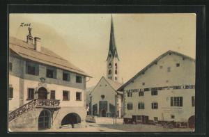 AK Zuoz, Ortspartie mit Blick zur Kirche