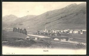AK Scanfs, Ortsansicht mit Kirche aus der Vogelschau