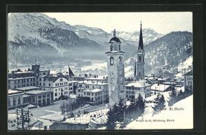 AK St. Moritz, Teilansicht mit Kirche im Winter