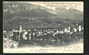 AK Ilanz, Panoramablick auf den Ort