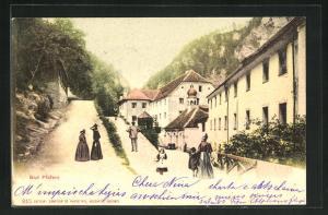 AK Bad Pfäfers, in Serpentinen ansteigende Strasse im Ort