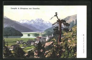 AK Campfér, Ortsansicht mit Silvaplana von Chasellas