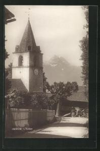 AK Gryon, L`Eglise, Strassenpartie an der Kirche