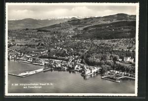 AK Staad, Fliegeraufnahme vom Ort, Blick auf Vorarlberge
