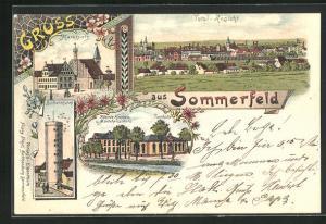 Lithographie Sommerfeld / Lubsko, Marktplatz, Büffelkthurm, Höhere Knaben- u. Mädchenschule, Turnhalle