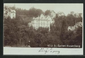 Foto-AK St. Gallen-Rosenberg, Blick auf Villen