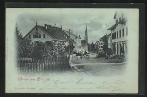 Mondschein-AK Bülach, Blick in den Ort