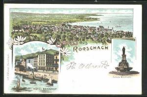 Lithographie Rorschach, Hôtel Bahnhof, Jakobs Brunnen