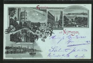 Mondschein-Lithographie Nijmegen, Belvédère, Groote Markt m. Raadhuis, Heidensche Kapel Valkhof