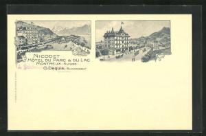Lithographie Montreux, Nicodet, Hotel du Parc, Hotel du Lac
