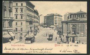 AK Wien, Strassenbahn in der Nussdorferstrasse