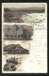 Lithographie Bregenz, Neue Post, Kloster Riedenburg, Panorama vom Buchenberg