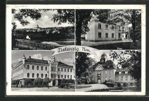 AK Zielenzig / Sulecin, Ortsansicht, Blick auf Post, Landratsamt und Rathaus