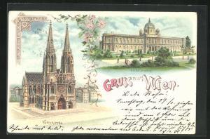 Lithographie Wien, Votivkirche, K. K. Hof-Museum