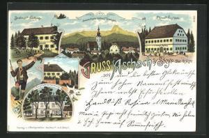 Lithographie Aschach an der Steyr, Ebmer`s Gasthaus, Strassmair`s Gasthaus, J. Burgstaller`s Handlung, Pfarrhof