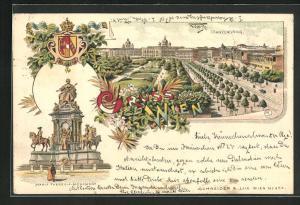 Lithographie Wien, Franzensring aus der Vogelschau, Maria Theresia Monument