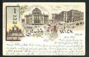 Lithographie Wien, Deutsches Volkstheater, Börse, Tegetthoff-Monument
