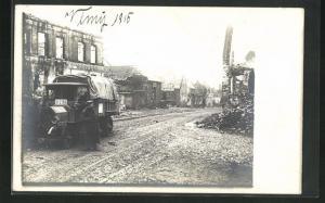 Foto-AK Vimy, Ortspartie mit Lastkraftwagen