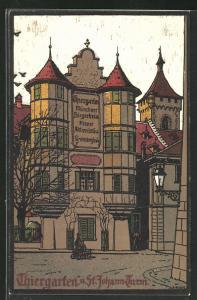 Künstler-AK Schaffhausen, Gasthaus Thiergarten und St. Johann-Thurm