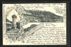 AK Wien-Kahlenberg, Ortsansicht und Leopoldsberg von der Donau gesehen, Stefanie-Warte, Teilansicht
