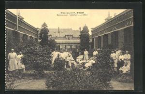 AK Brüssel, Kriegslazarett I, Gartenanlage zwischen den Sälen