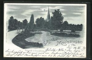 Mondschein-Lithographie Mülhausen i / els, Ortspartie