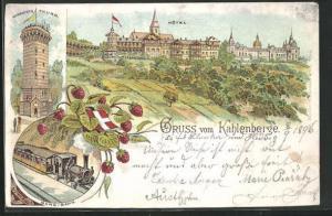 Lithographie Wien-Kahlenberge, Hotel, Aussichtsturm, Berg-Bahn