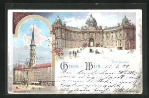 Lithographie Wien, Hofburg, Neues Burgthor und Michaelerkirche