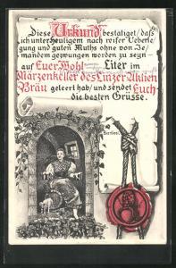 AK Linz, Urkunde über geleerte Biere im Märzenkeller des Linzer Aktien-Bräu