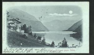 Mondschein-AK Achensee, Gesamtansicht gegen Süden