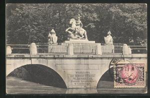 AK Warschau-Warszawa, Jan Sobieski-Denkmal im Lazienki-Park