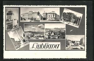 AK Ljubljana / Laibach, Gesamtansicht, Denkmal, Brücke